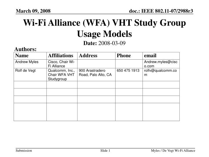 Wi fi alliance wfa vht study group usage models