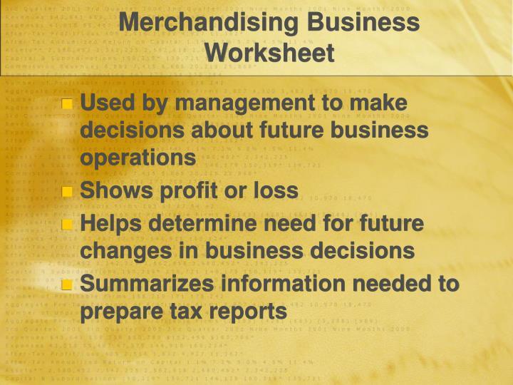 Merchandising Business Worksheet
