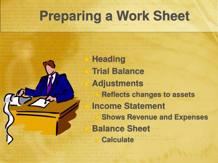 Preparing a Work Sheet