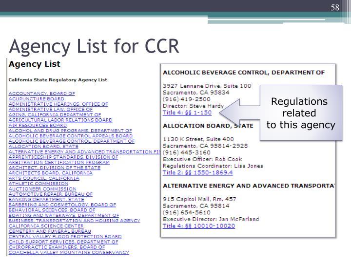 Agency List for CCR
