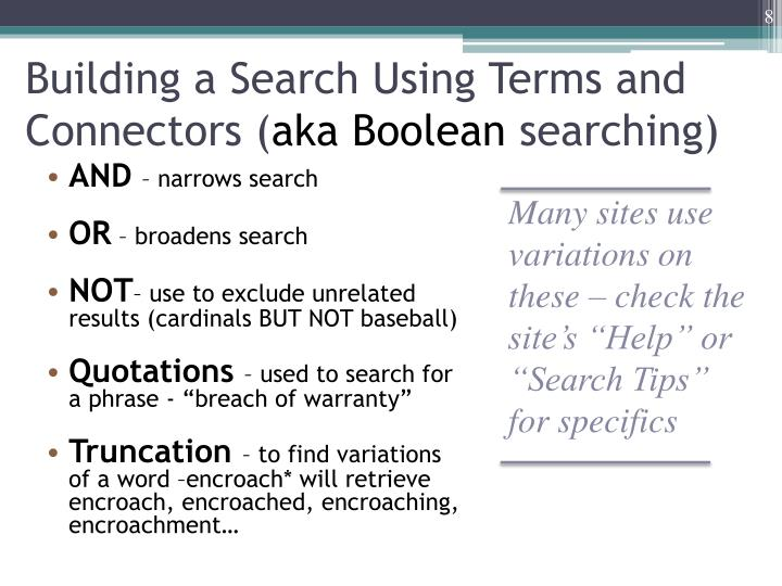 Building a Search Using Terms and Connectors (