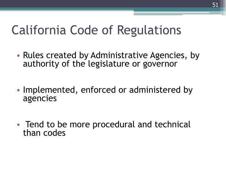 California Code of Regulations
