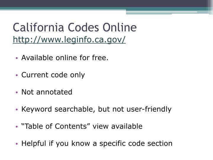 California Codes Online
