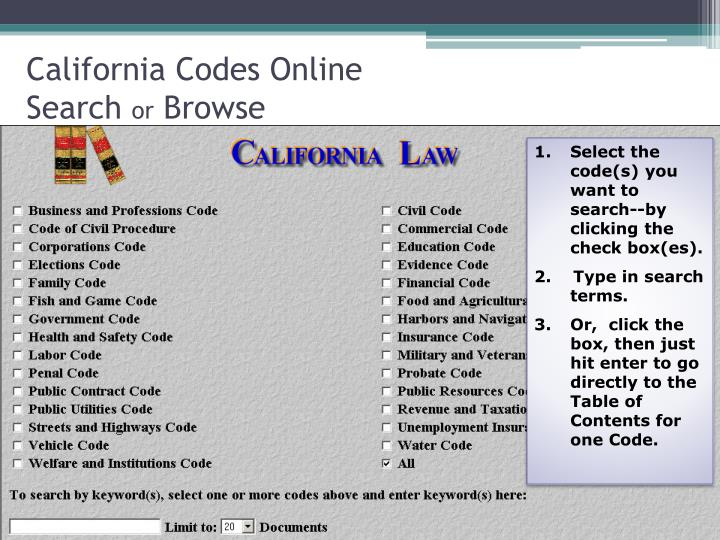 California Codes Online