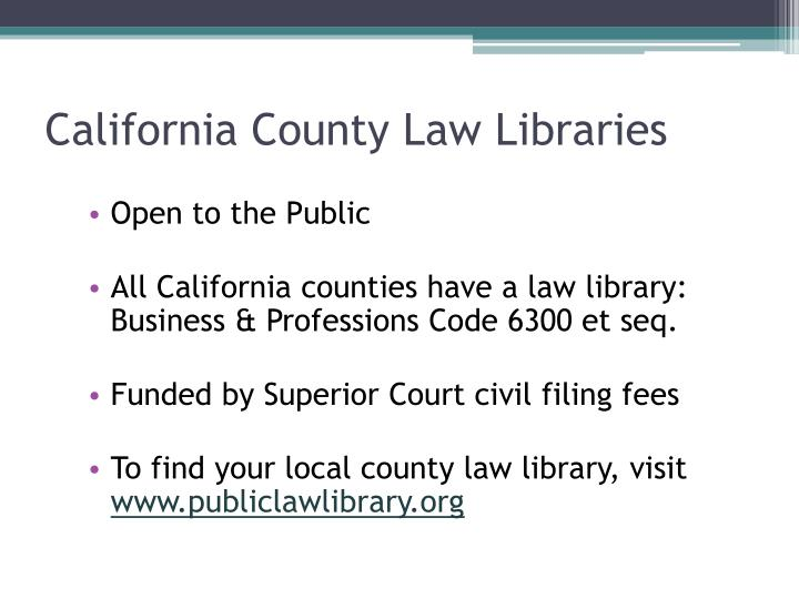 California county law libraries