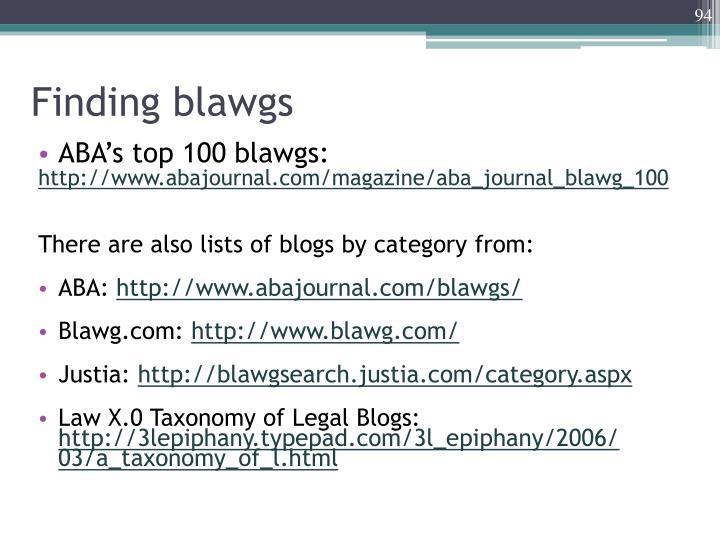 Finding blawgs
