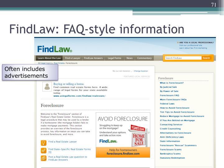 FindLaw: FAQ-style information
