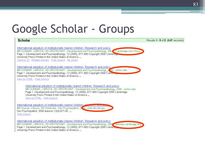Google Scholar - Groups