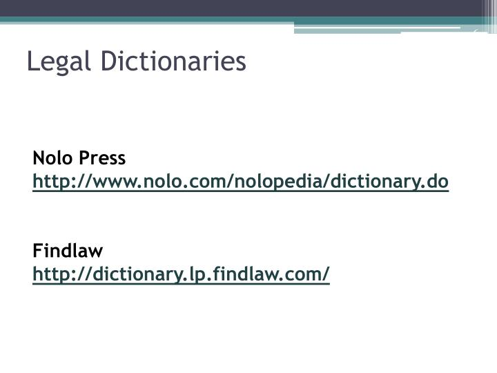 Legal Dictionaries
