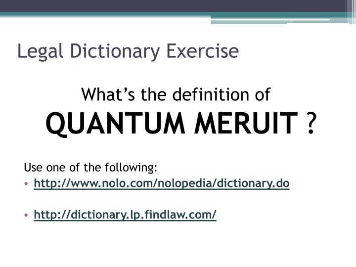 Legal Dictionary Exercise
