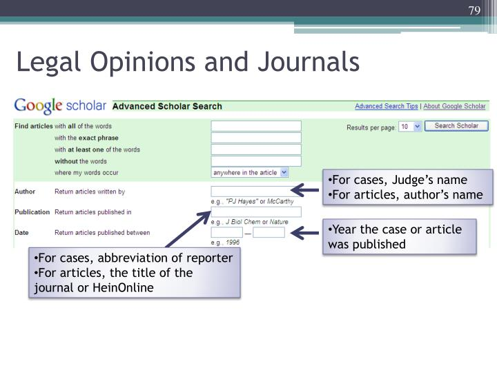 Legal Opinions and Journals