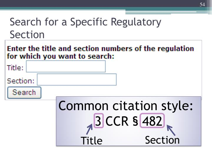 Search for a Specific Regulatory Section