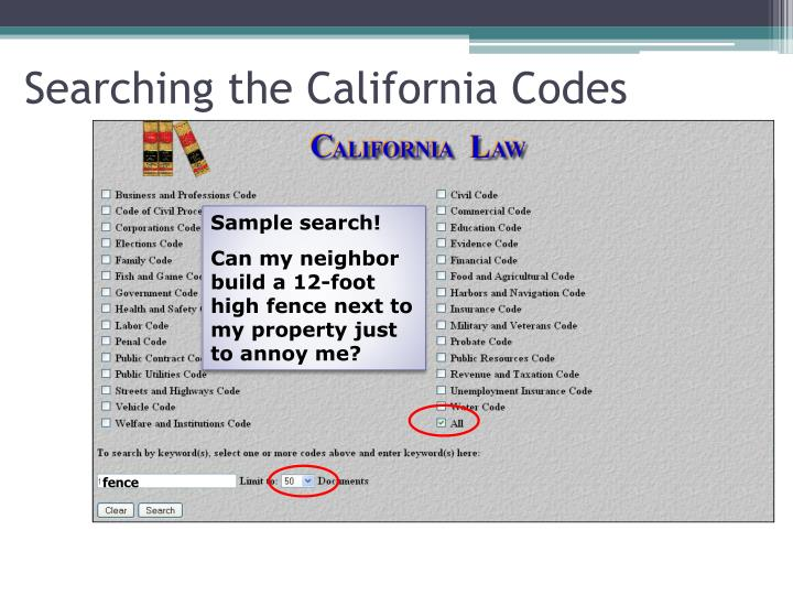 Searching the California Codes