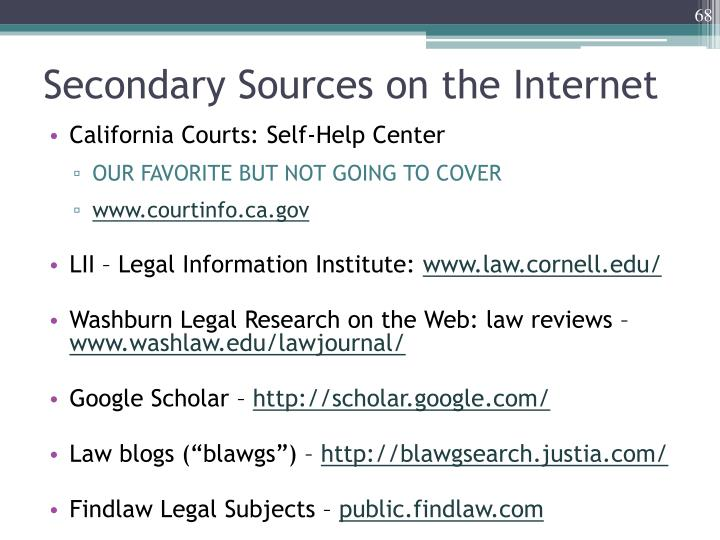 Secondary Sources on the Internet