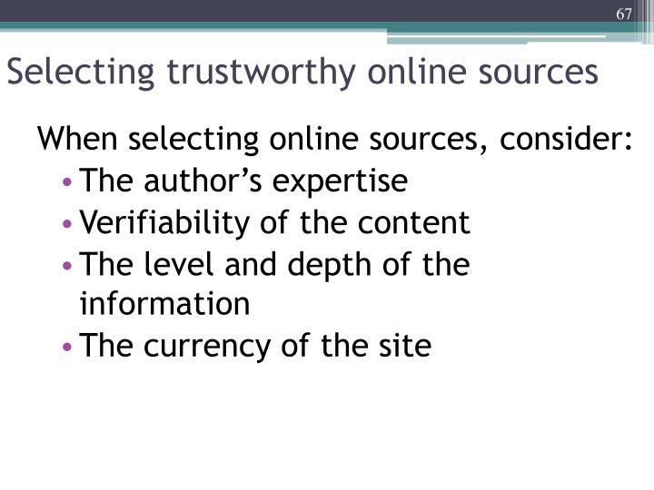 Selecting trustworthy online sources