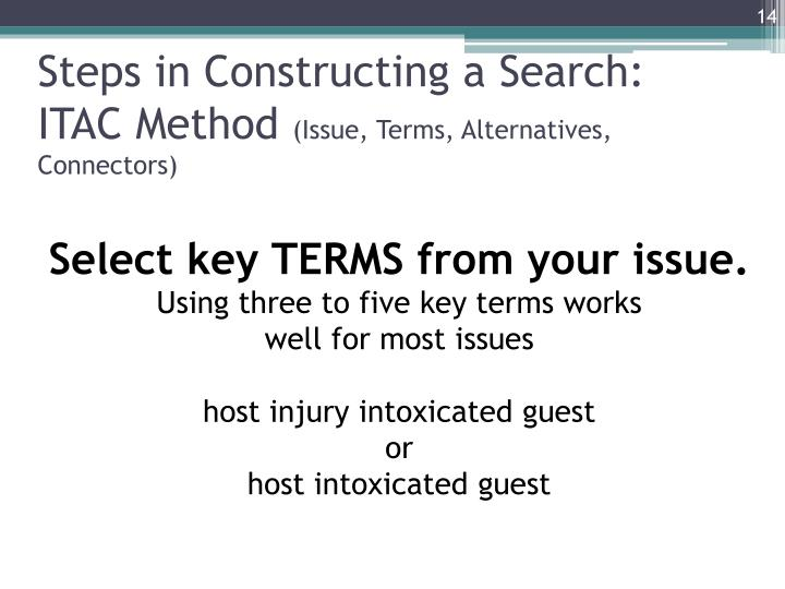 Steps in Constructing a Search: