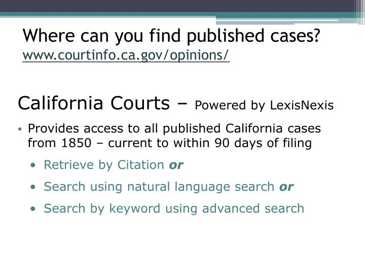 Where can you find published cases?