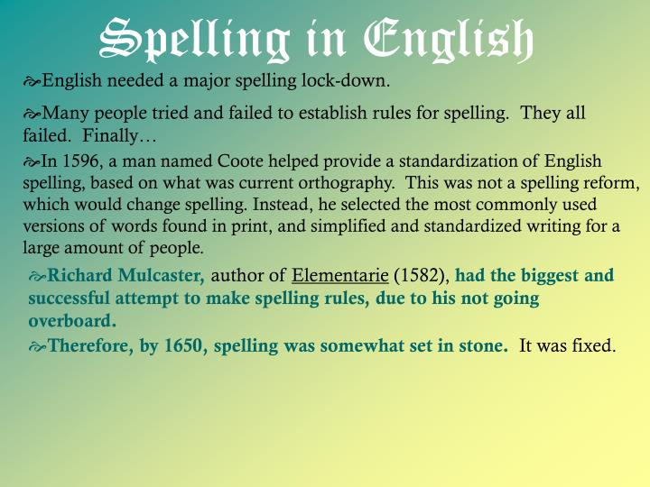 Spelling in English