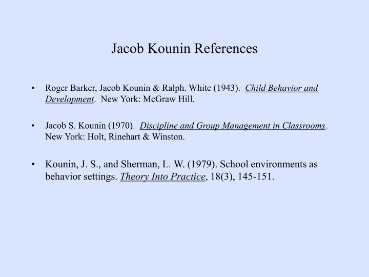 Jacob Kounin References