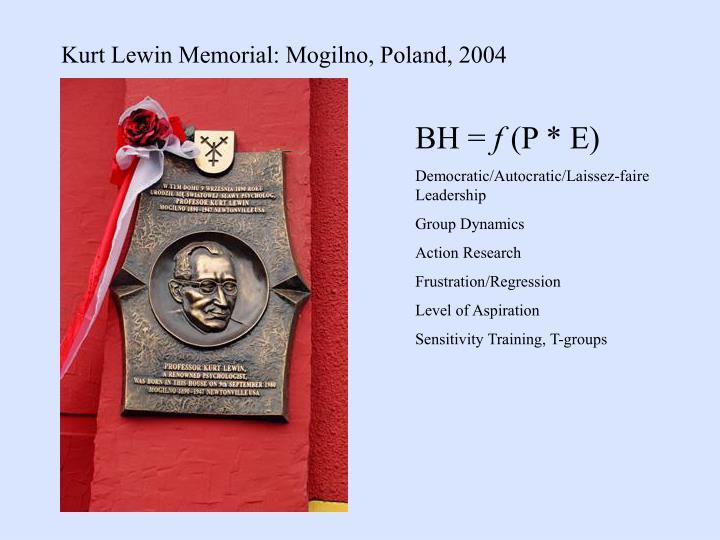Kurt Lewin Memorial: Mogilno, Poland, 2004
