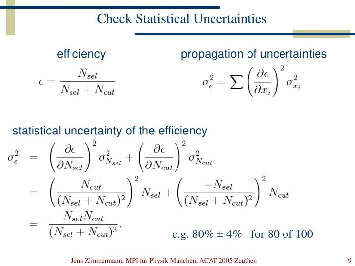 propagation of uncertainties