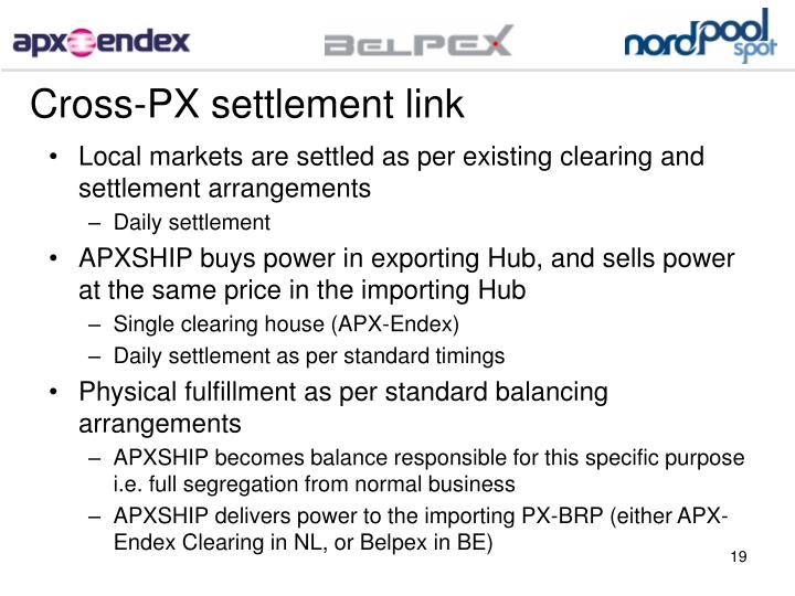 Cross-PX settlement link
