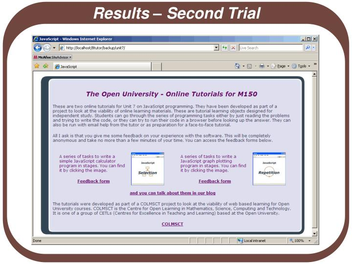 Results – Second Trial