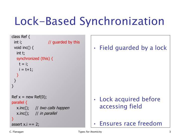 Lock based synchronization