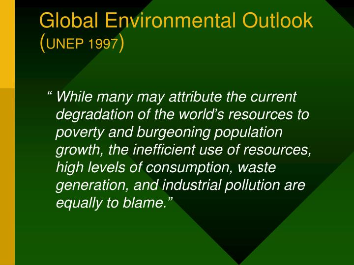Global environmental outlook unep 1997