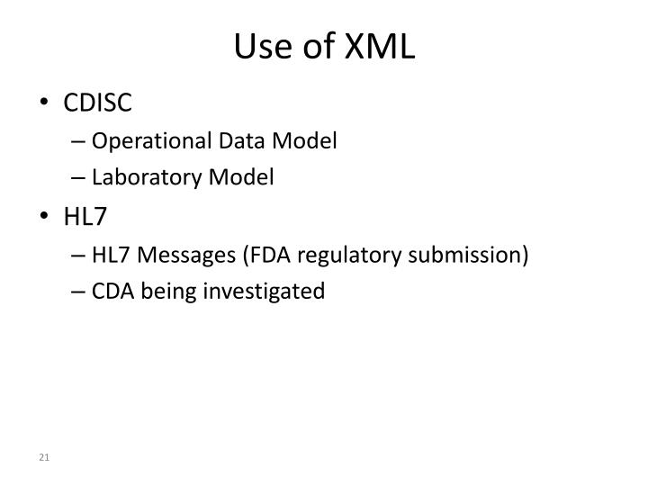 Use of XML