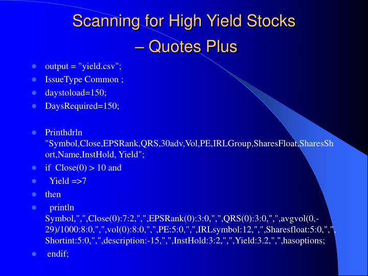 Scanning for High Yield Stocks