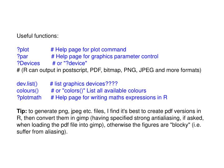 Useful functions: