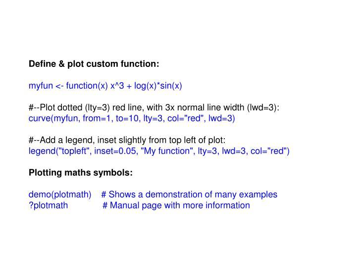 Define & plot custom function: