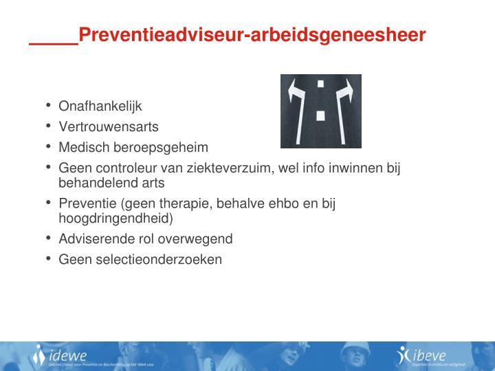 Preventieadviseur-arbeidsgeneesheer
