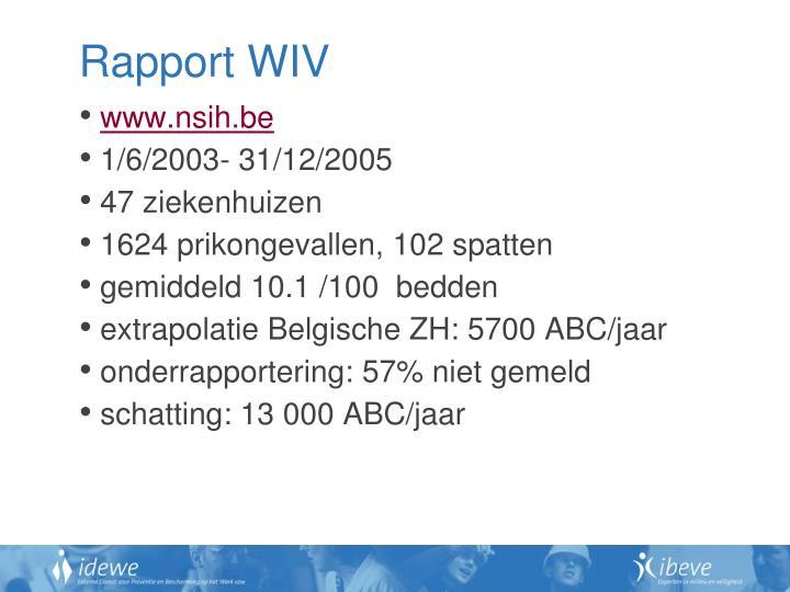 Rapport WIV