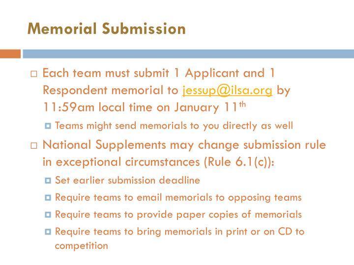 Memorial Submission