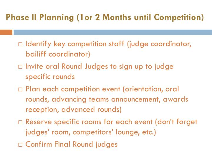 Phase II Planning (1or 2 Months until Competition)