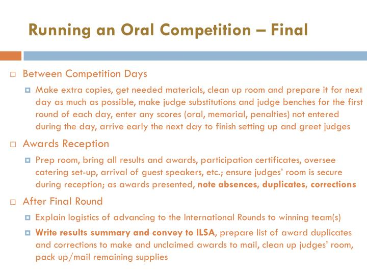 Running an Oral Competition – Final