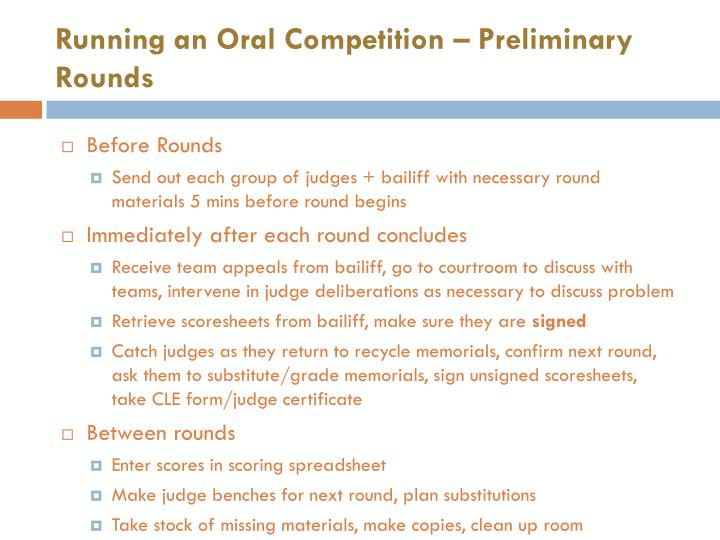 Running an Oral Competition – Preliminary Rounds
