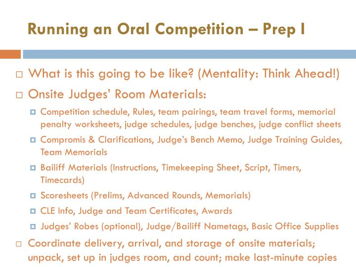 Running an Oral Competition – Prep I