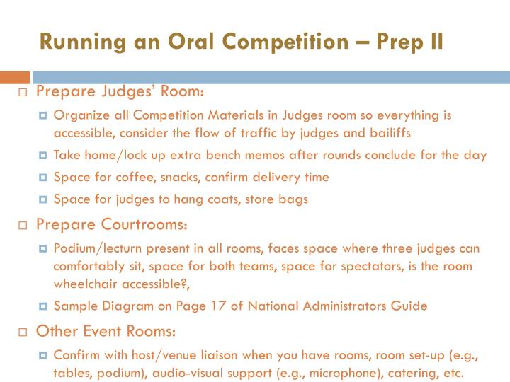 Running an Oral Competition – Prep II