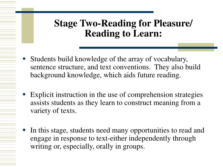Stage Two-Reading for Pleasure/