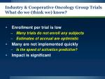 industry cooperative oncology group trials what do we think we know