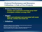 protocol performance and resource utilization a tale of two projects
