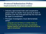 protocol submission policy implemented by two cancer centers