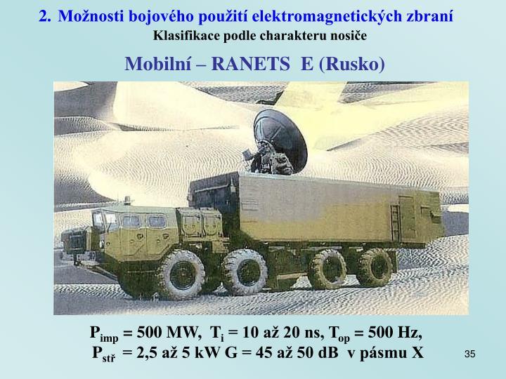 Možnosti bojového použití elektromagnetických zbraní