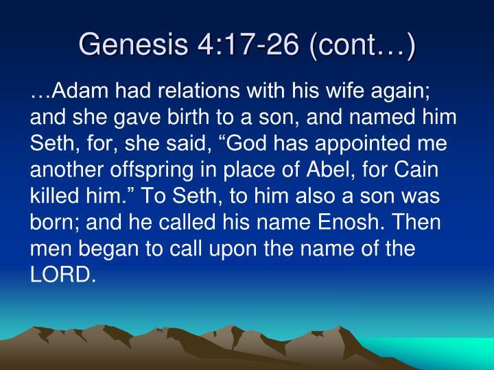 Genesis 4:17-26 (