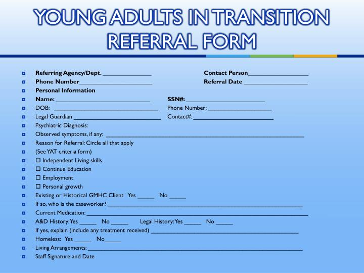 YOUNG ADULTS IN TRANSITION REFERRAL FORM
