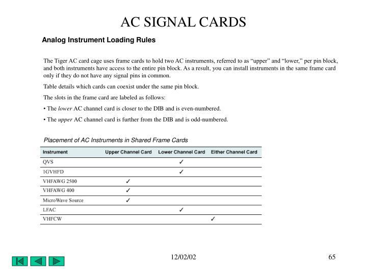 AC SIGNAL CARDS