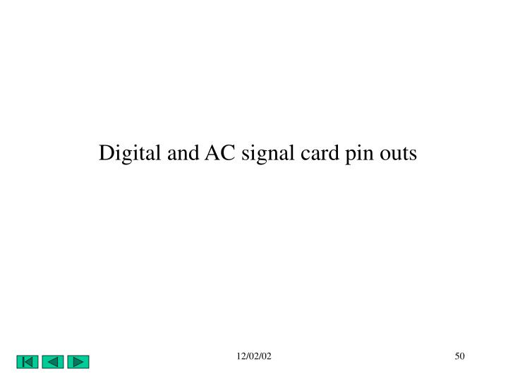 Digital and AC signal card pin outs